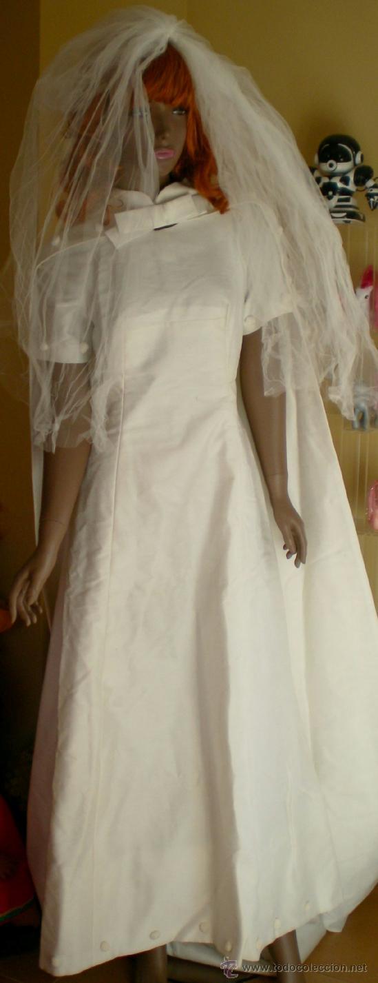vestido de novia con capa, años 60-70 - comprar moda vintage mujer