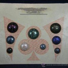 Vintage: LOTE 9 BOTONES VINTAGE REDONDOS DE PLÁSTICO COLORES CON MARCAS INCISAS EXPOSITOR MERCERÍA. Lote 39203099
