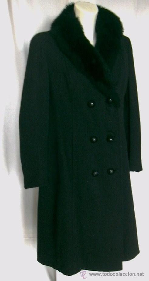 Abrigo Paño Negro De Imitación Con Venta Cuello Piel Vendido En rxEr1wq