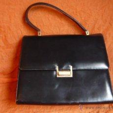 Vintage: BOLSO PIEL , AÑOS 80, NEGRO, VINTAGE.. Lote 40273846
