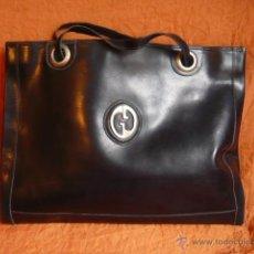 Vintage: BOLSO PIEL , AÑOS 80, NEGRO, VINTAGE. Lote 40273924
