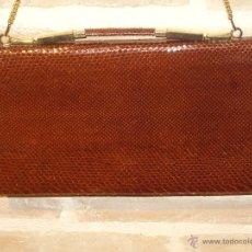 Vintage: ELEGANTE BOLSO DE PIEL DE SERPIENTE. CARTERA EN COLOR MARRON,ASA REGULABLE.VINTAGE.. Lote 40868028
