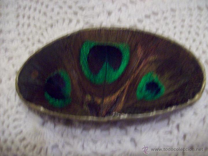 Vintage: Pasador pelo plumas pavo real sobre base madera 9X4,5 cm - Foto 4 - 48550879