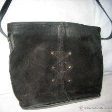 Vintage: BOLSO DE PIEL DE ANTE NEGRO. Lote 42071709