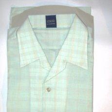 Vintage: CAMISA AÑOS 70 MARCA IKE DE MANGA CORTA VERDE CLARO DE CUADROS, TALLA 2 36/37 A ESTRENAR. Lote 44874629