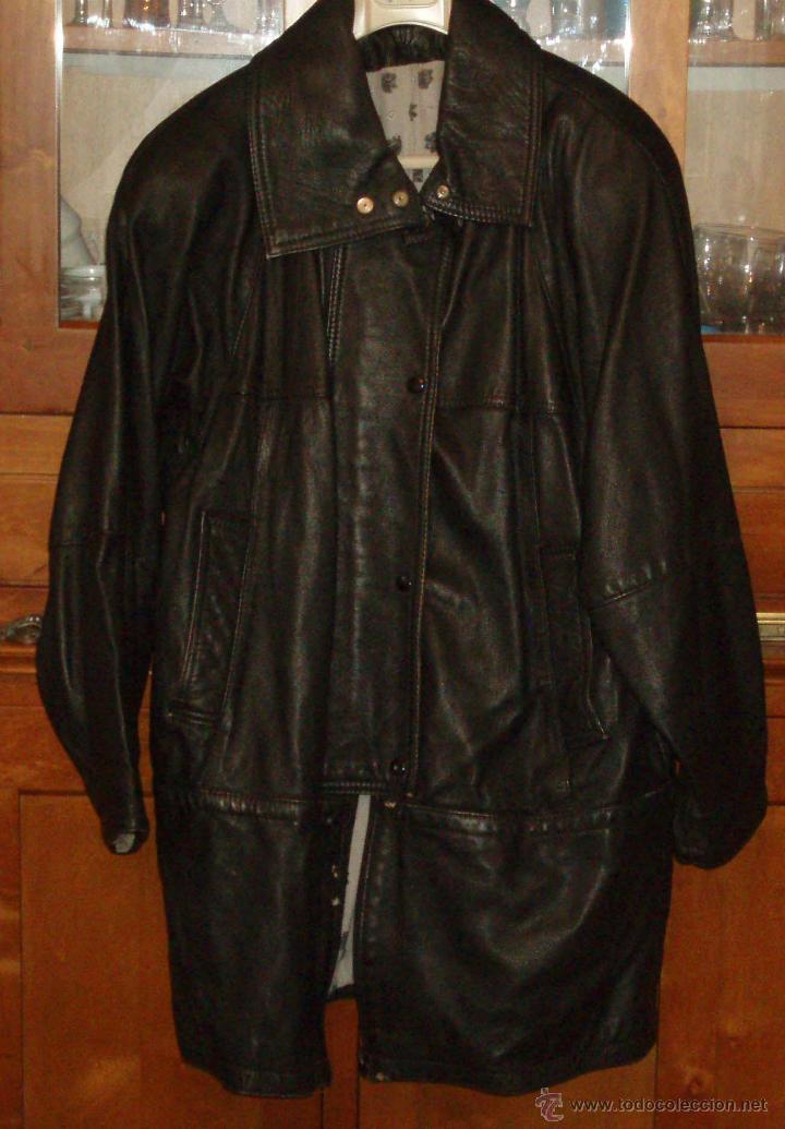 chaqueta tres cuartos de cuero negro talla medi - Comprar Moda ...
