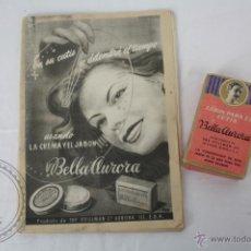 Vintage: ANTIGUO JABÓN PARA EL CUTIS BELLA AURORA + FOLLETO PUBLICITARIO ORIGINAL DE LA EPOCA . Lote 47019022