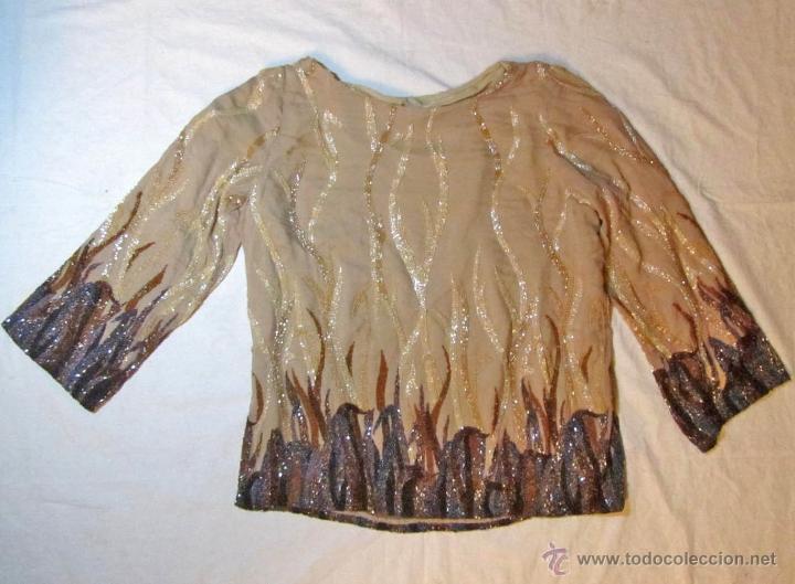 BLUSA FANTASÍA O FIESTA BORDADA CON ABALORIOS (Vintage - Moda - Mujer)