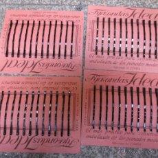 Vintage: PELUQUERIA 4 CARTONES CON CLIPS HORQUILLAS FIJA ONDAS SEÑORA MARCA IDEAL AÑOS 50 EXCELENTE + INFO. Lote 48641097
