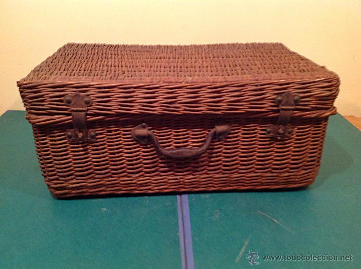 Vintage: Antigua cesta mimbre maleta original con cierre y agarradera original de época. - Foto 5 - 49304579