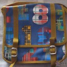 Vintage: M69 BOLSA CARTERA COLEGIO AÑOS 70 EN AZUL MARRON CON NUMEROS NUNCA USADA CON CIERRE EN BROCHE NUEVA. Lote 50659196