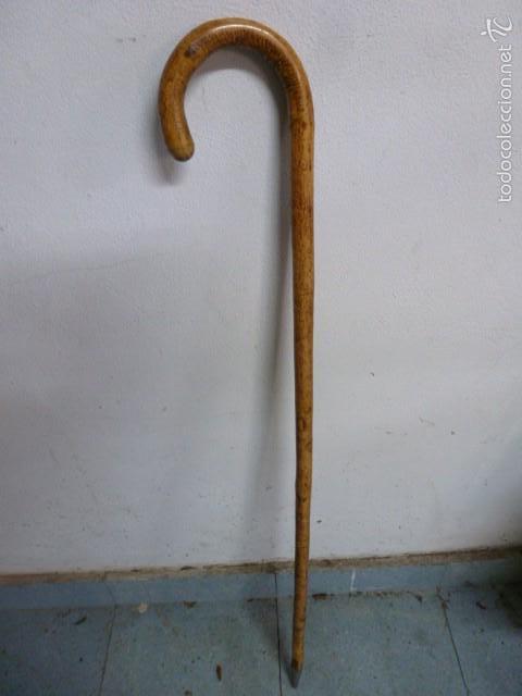 BASTON CACHAVA MADERA, PUNTA METALICA.91 CM LONGITUD (Vintage - Moda - Hombre)