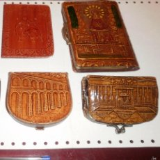 Vintage: MODA VINTAGE. PIEL REPUJADA (EN RELIEVE). LOTE MONEDEROS, AGENDA Y CARTERA. AÑOS 60 A 80. Lote 58556831