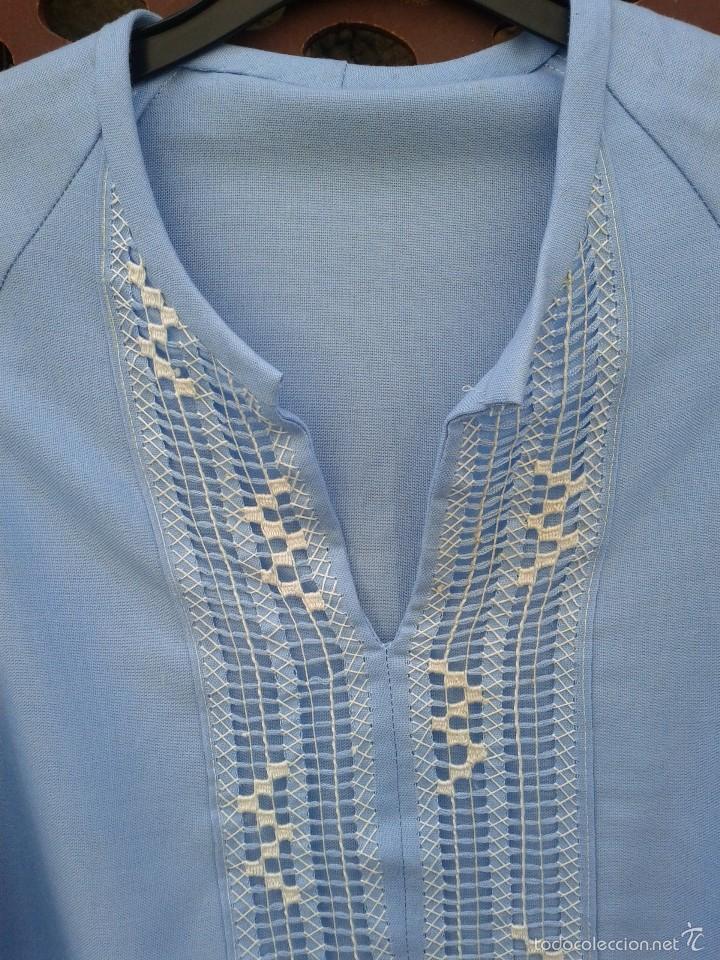 Vintage: Camisa en algodon , bordada a mano en Mejico, hacia 1970. - Foto 2 - 57111457