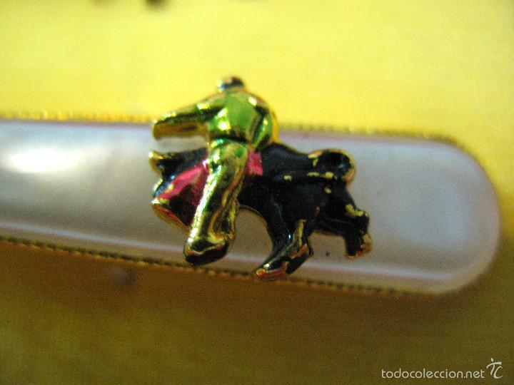 Vintage: Conjunto de pasador de corbata y gemelos toreros. - Foto 3 - 57348306