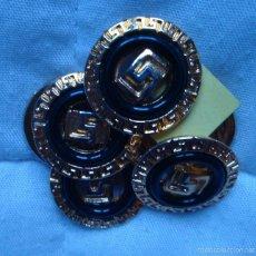Vintage: VINTAGE BOTÓN LUJO EXCLUSIVO COLECCIÓN DE 6 BOTONES NEGRO Y METAL DORADO LABRADO DIEÑADOR MODA. Lote 58537151
