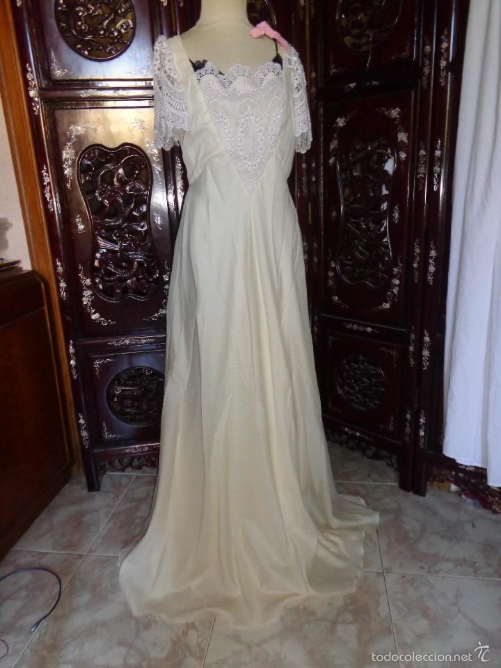vestido de novia - años 70 - beige con encaje g - vendido en venta