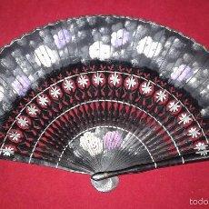 Vintage: ABANICO, DECORADO A MANO. Lote 59518539