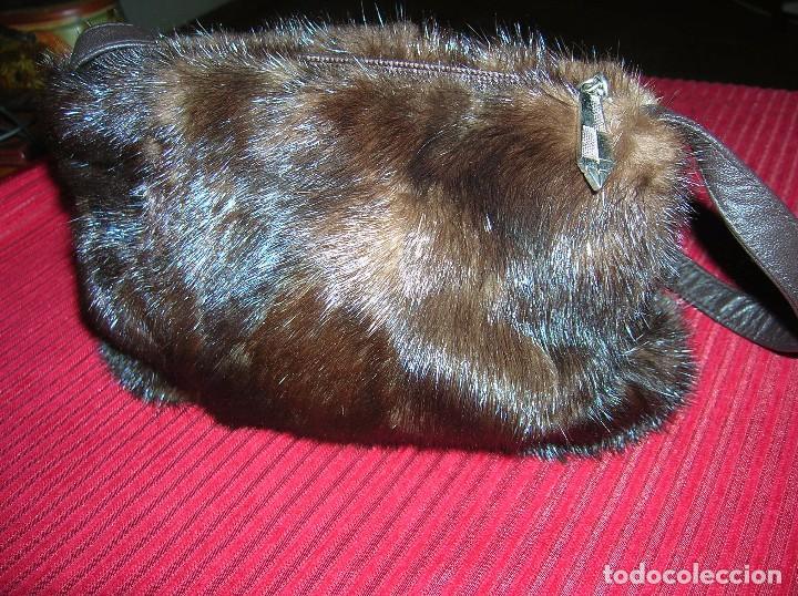 Vintage: Elegante bolsito piel de visón ,trocitos,marrón - Foto 2 - 69044709