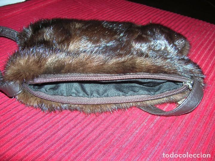 Vintage: Elegante bolsito piel de visón ,trocitos,marrón - Foto 3 - 69044709