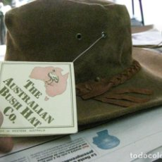 Vintage: AUSTRALIA 80'S - SIN USO. BUSH HAT. SOMBRERO DE PIEL ESTILO COUNTRY MADE IN WESTERN AUSTRALIA V.FOT. Lote 72919243