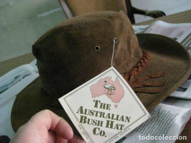Vintage: AUSTRALIA 80S - SIN USO. BUSH HAT. SOMBRERO DE PIEL ESTILO COUNTRY MADE IN WESTERN AUSTRALIA V.FOT - Foto 2 - 72919243
