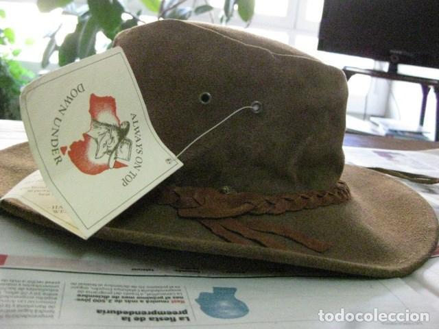 Vintage: AUSTRALIA 80S - SIN USO. BUSH HAT. SOMBRERO DE PIEL ESTILO COUNTRY MADE IN WESTERN AUSTRALIA V.FOT - Foto 4 - 72919243