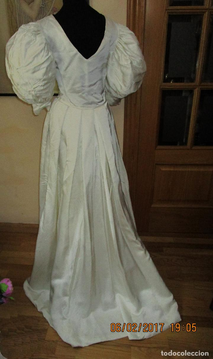 vestido de novia, raso blanco, mangas abullonad - Comprar Moda ...