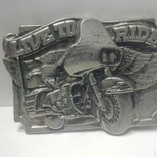 Vintage: HEBILLA PARA CINTURON MOTO LIVE TO RIDE. Lote 77832290