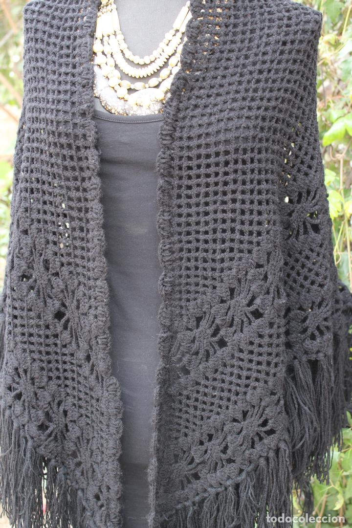 Antiguo mant n toquilla chal de lana en punto d comprar - Toca de ganchillo ...