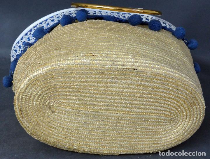 Vintage: Cesto bolso paja con borlas y asas metal años 60 - Foto 5 - 83129784
