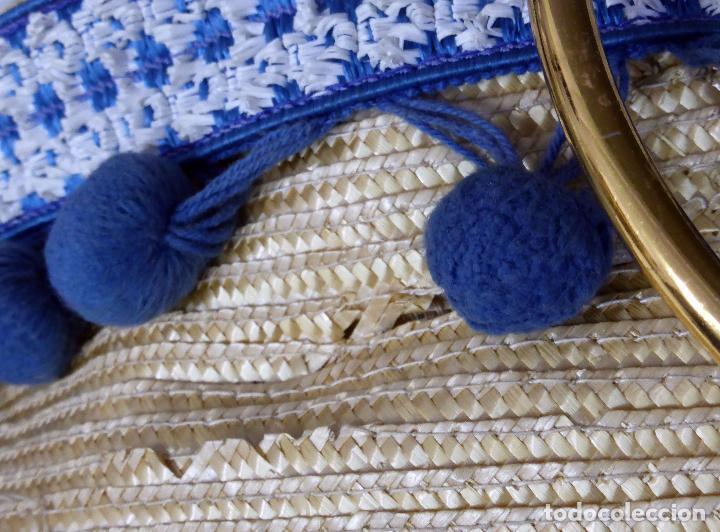 Vintage: Cesto bolso paja con borlas y asas metal años 60 - Foto 6 - 83129784