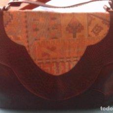 Vintage: BOLSO POLIPIEL COMBINADO CON TELA-AÑOS 70. Lote 83518024