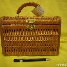 Vintage: BOLSO MIMBRE RECTANGULAR, AÑOS 70, NUEVO SIN USAR.. Lote 83658156