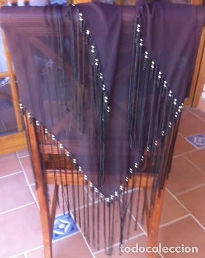 Vintage: Precioso manton pañuelo triangulo MARIANA GARINI largos flecos y pasamanerias - Foto 2 - 83814476