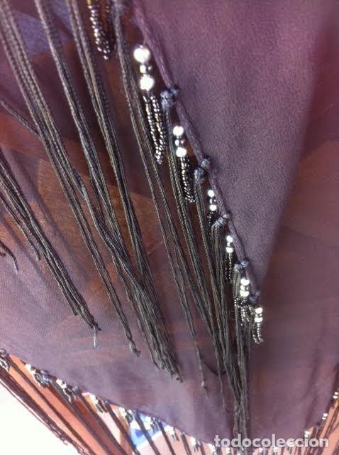 Vintage: Precioso manton pañuelo triangulo MARIANA GARINI largos flecos y pasamanerias - Foto 3 - 83814476
