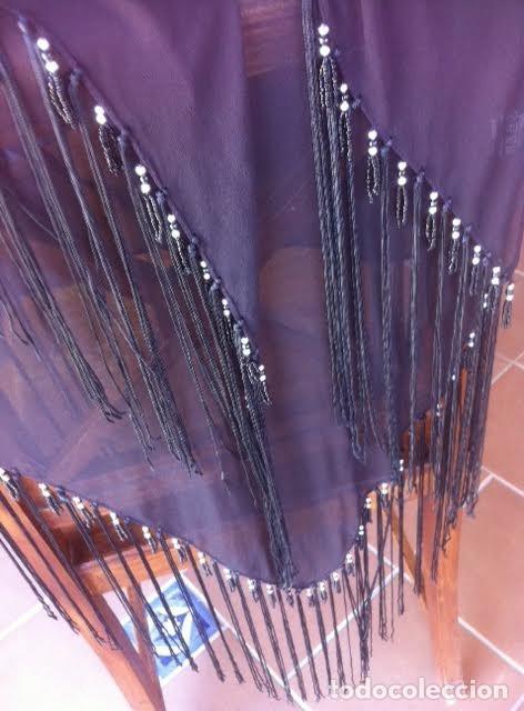 Vintage: Precioso manton pañuelo triangulo MARIANA GARINI largos flecos y pasamanerias - Foto 5 - 83814476