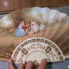 Vintage: ABANICO DE MARFIL TALLADO Y CONTRASTADO FIRMADO LLUNA,1950.. Lote 84322688