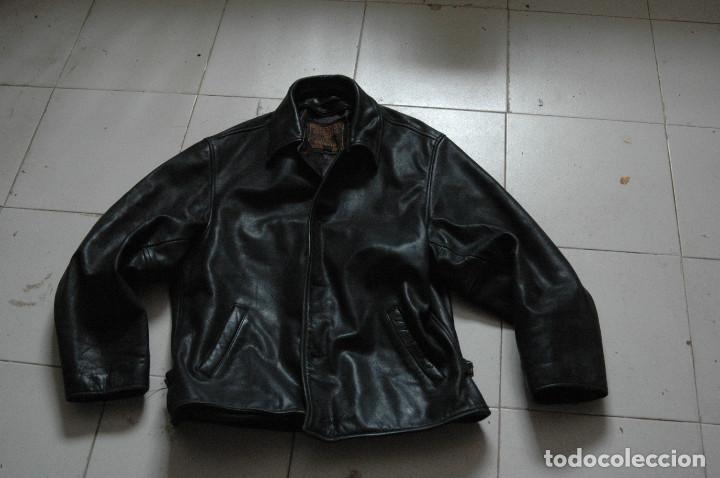 964e5558076 CAZADORA CHAQUETA CUERO PIEL NEGRO MOTERO-MOTORISTA--ESTILO RETRO REDSKINS ( Vintage -