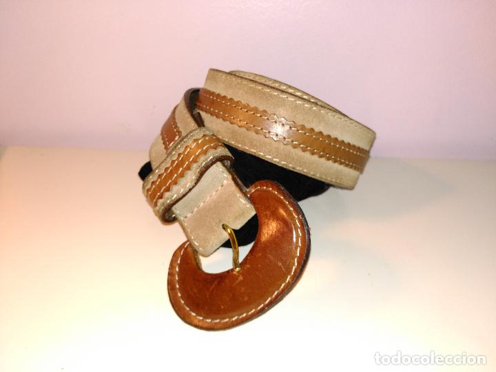 Vintage: Cinturon vintage. años 80. ancho. DOS TONOS DE MARRON. 95 CM - Foto 2 - 85079768