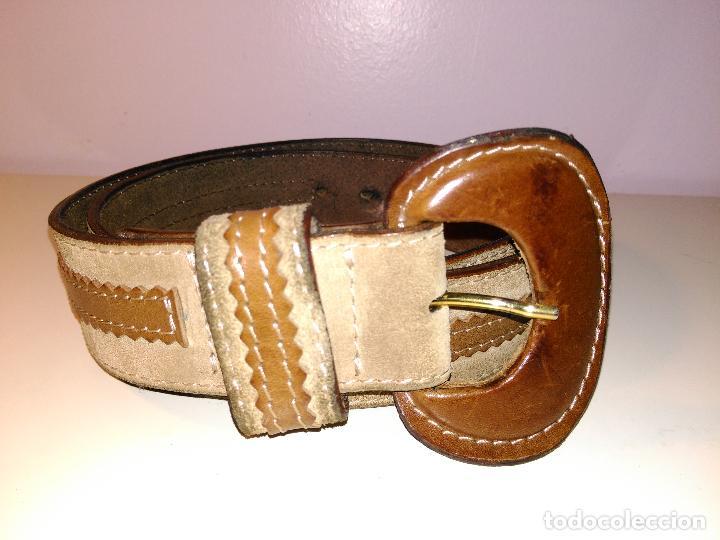 Vintage: Cinturon vintage. años 80. ancho. DOS TONOS DE MARRON. 95 CM - Foto 3 - 85079768