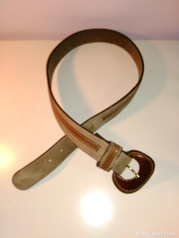 Vintage: Cinturon vintage. años 80. ancho. DOS TONOS DE MARRON. 95 CM - Foto 5 - 85079768