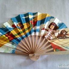 Vintage: ANTIGUO ABANICO DE COLECCIÓN DE MADERA Y PAPEL . Lote 87429016