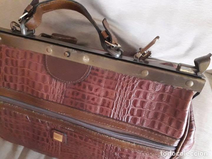 MALETÍN BOLSA BOLSO DE VIAJE DE PIEL / 46 X 35 X 30 / FIRENZE BAGS (Vintage - Moda - Complementos)