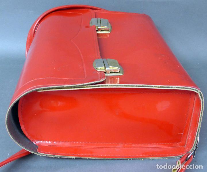 Vintage: Cartera colegio plástico rojo años 70 - Foto 2 - 89653828
