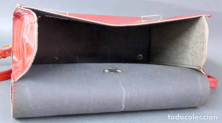 Vintage: Cartera colegio plástico rojo años 70 - Foto 4 - 89653828