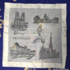 Vintage: PAÑUELO DE HILO RECUERDO DE BRUSELAS (BRUXELLES) 30 X 30 CM. Lote 96428339