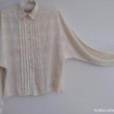 Vintage: CAMISA VINTAGE BLANCA AJEDREZ CON MANGAS MURCIELAGO. Lote 98573043