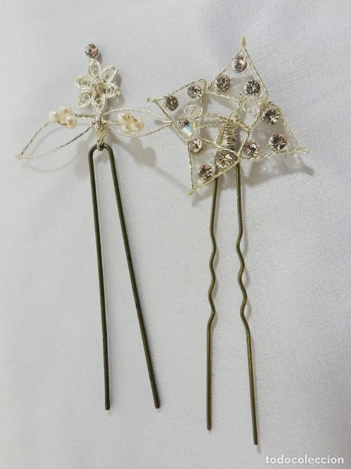 Vintage: Horquillas de tocado en cristal de roca, españolas Vintage alta calidad ideal ceremonias aderezos - Foto 2 - 103670799
