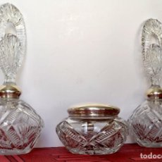 Vintage: JUEGO DE TOCADOR VINTAGE PLATA Y CRISTAL. Lote 108288719